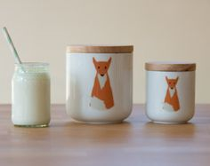Medium cute fox wooden lid ceramic canister jar