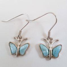 Sterling Silver Larimar Butterfly Earrings