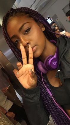 Purple Box Braids Find hair care, fashion and more at… Twist Hairstyles, Protective Hairstyles, Dreads, Natural Hair Tips, Natural Hair Styles, Purple Box Braids, Twist Braids, Twists, Braids For Black Women