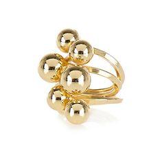 Gold tone multi ball ring $4.00