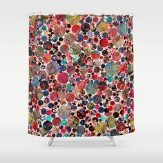 Bright polka dot(3). Shower Curtain #showercurtains #society6 #pink #purple #romantic #bathroom #textile #homedesign #polkadot #bordo #green #gold