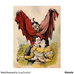 Shop Devil Postcard created by LongToothed. Vintage Gifts, Vintage Postcards, High Quality Images, Satan, Devil, Creepy, Victorian, Texture, Red