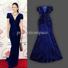Discount Noble Royal Blue Foor Length V Neck Velvet Celebrity Dresses Cap Sleeves Mermaid Evening Prom Dresses Online with $166.68/Piece | DHgate
