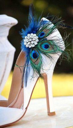 Shoe Clips Peacock Fan. Bride Bridal Bridesmaid by sofisticata