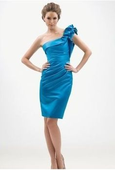Discount Satin Ruffled One-Shoulder A-Line Short Bridesmaid Dress Free Measurement