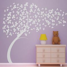 Curvy Blowing Tree  Vinyl Wall Decal  Great for by MushuDesigns, $54.99