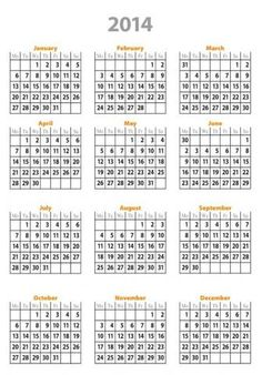 calendar 2014 only printable yearly