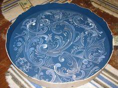 Modern Telemark blue & white plate by Patti Goke