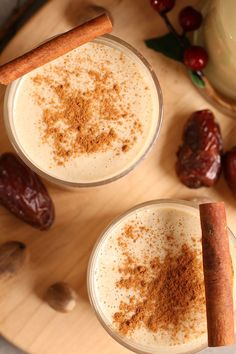 This Homemade Vegan Eggnog is made with homemade cashew milk, raw cashews, and medjool dates for a rich and creamy holiday drink.