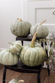 DIY heirloom pumpkin tutorial /sage green painted pumpkins - So Much Better With Age Plastic Pumpkins, Foam Pumpkins, White Pumpkins, Painted Pumpkins, Green Pumpkin, Diy Pumpkin, Pumpkin Crafts, Fall Crafts, Halloween Crafts