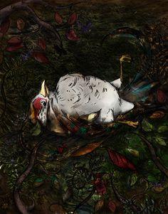 http://www.etsy.com/uk/shop/TeaForMeDesigns  -Copyright Kirsty Willette Illustration    #drawing #illustration #bird #death #design
