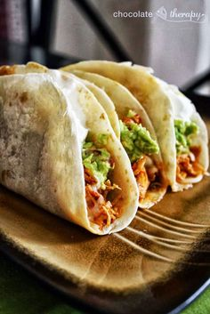 Crockpot Chicken Tacos Dump 1 envelope of taco seasoning, 6 boneless, skinless chicken breasts a jar of salsa in the crockpot, stir and cook on high(4-6 hrs.) or low(6-8 hrs.) Should be able to shred with a fork. Place meat mixture in tortillas and top with your favorite toppings!
