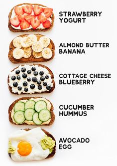 5 Healthy Toast Topping Ideas Breakfast in need of a revamp? Here are 5 healthy toast topping ideas that are high protein and will have you looking forward to your vegetarian breakfast! They're full of flavor, perfect for the family, and easy to make. Healthy Meal Prep, Healthy Drinks, Healthy Dinner Recipes, Vegetarian Recipes, Healthy Eating, Healthy Snacks Vegetarian, Protein For Vegetarians, High Protein Vegetarian Breakfast, Easy Recipes