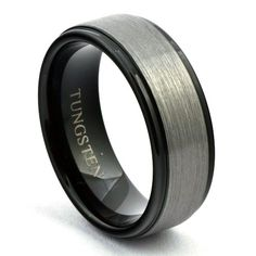 two tone black and gun metal tungsten wedding band with classic tungsten center and polished black edges