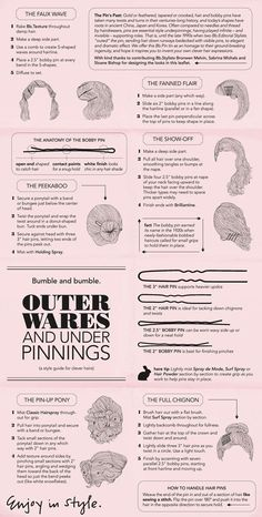 Bobby pin instruction sheet!  Even tips on how to use hair pins (u shaped bobby pins)!