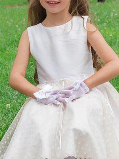 de9dae6d78d40 gants en résille blanc et noeud de satin pour fille.