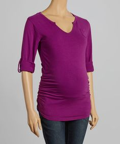 Take a look at this Purple Grape Ruched Maternity Notch Neck Top on zulily today!