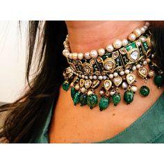 An exquisite 19th Century emerald, diamond, and pearl Guluband. Looks smokin' on @jenniferleitmanbailey. Coming this October @christiesinc #christiesjewels