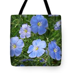 "Blue Blossoms Tote Bag 18"" x 18"""