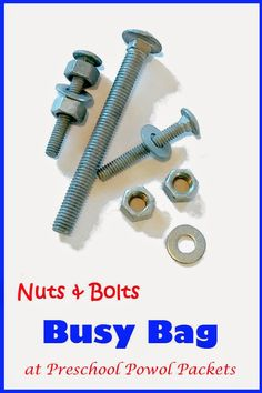 Nuts and Bolts Busy Bag!  Perfect for preschoolers and other children who need something to keep their fingers busy for a few minutes!
