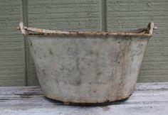 Vintage Cast Iron Garden Pot // Rustic Shabby Chic // Distressed Pot
