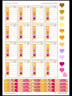 To Do checklist box  Hearts and Washi strips  Colours of AUTUMN - Erin Condren Life Planner Stickers Printable PDF Vertical layout