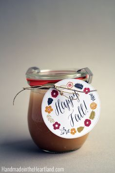 Caramel Sauce Recipe, with free fall gift tag printable. Easy to make treat that everyone loves!