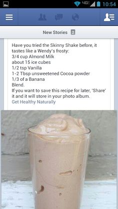 Healthy Wendy's frosty shake... To say this tastes like a frosty is too generous but it is a good way to satisfy a chocolate/milk shake craving. I subbed cocoa powder for a tbsp or two of chocolate syrup, which def made it better.