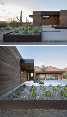 9 Ideas For Including Weathering Steel Planters In Your Garden // The rows of succulents and large rocks within these weathered steel planters help make the front of this desert house welcoming and up the house's curb appeal.