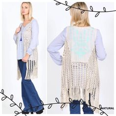 HP 4/12 &13, 10/5GORGEOUS FRINGE VESTS! Crochet knit vests with intricate detail on the back! Absolutely hip, absolutely gorgeous! NWOT. BLACK, SALMON, NATURAL & MOCHA.                                         PLEASE DO NOT BUY THIS LISTING.                             I will make you a personal listing. tla2 Other