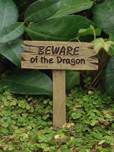 Miniature Dollhouse Fairy Garden Beware Of Dragon Sign Pick