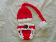 2 pc Christmas outfit hat and diaper cover set by DesignsbyKieshia, $15.00