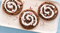 Peppermint Hot Cocoa Cookies -- Chocolate, peppermint and marshmallow come together for a much more portable version of cocoa in these delightfully delicious holiday treats.