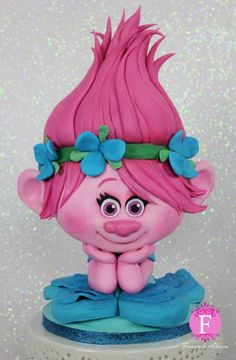 Trolls Poppy Sugar Sculpture-Modelling Chocolate with Satin Ice Fondant by Fernanda Abarca Cakes