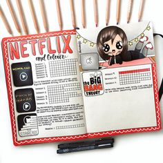 NetFlix junkie spread bullet journal