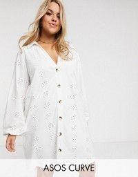 ASOS DESIGN Curve broderie super oversized t-shirt dress in white ...