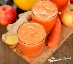 Ginger and Carrot Slim-Down Smoothie | Only 150 Calories | Great Way To Start Day or Snack | Skin Beautifying | For MORE RECIPES please SIGN UP for our FREE NEWSLETTER www.NutritionTwins.com