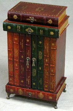 Elegant 63: Unusual Carved Wood Stacked Books End Table, 20th : Lot 63 Images