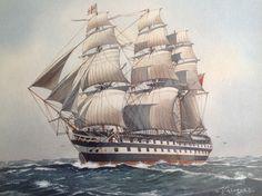 HMS Nile. ( later HMS Conway training ship ). 1862. Watercolor painting. C.J Ashford.