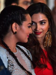 Sonakshi Sinha and Deepika Padukone chat during the press conference at the press conference for the 17th edition of IIFA Awards in Madrid. #Bollywood #Fashion #Style #Beauty #Hot #Sexy
