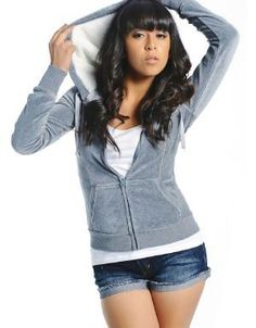 (CLICK IMAGE TWICE FOR DETAILS AND PRICING) Velour Hoodie Jacket Gray. A great jacket to throw on when on errands, at the gym or casual lazy days.. See More Tops at http://www.ourgreatshop.com/Tops-C74.aspx
