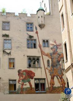 Luftel painting depicting David and Goliath, Regensburg, Bavaria, Germany Regensburg Germany, Bavaria Germany, France Travel, Germany Travel, Danube River Cruise, European River Cruises, Neuschwanstein, David And Goliath, Visit Germany