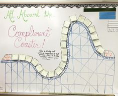 All Aboard! The compliment coaster rolled into town today. Kids had to choose a sticky note with another students' name on it and write a compliment to them. It certainly brightened my day! Classroom Whiteboard, 5th Grade Classroom, Future Classroom, Daily Writing Prompts, Bell Work, Responsive Classroom, Classroom Community, Morning Messages, School Counseling