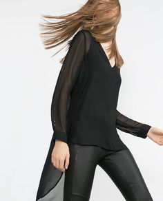 Image 4 of LONG BLACK TOP from Zara