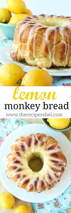 Glazed Lemon Monkey Bread Recipe via The Recipe Rebel - Buttery bun dough rolled in lemon sugar, baked, and covered in a thick lemon glaze. The perfect make ahead breakfast, brunch or dessert! The BEST Easy Lemon Desserts and Treats Recipes Lemon Desserts, Lemon Recipes, Just Desserts, Sweet Recipes, Dessert Recipes, Dinner Recipes, Dinner Ideas, Make Ahead Brunch Recipes, Make Ahead Desserts