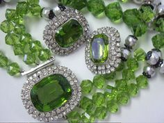 Vintage Hobe Green Glass Bead and Rhinestone Necklace and Earrings