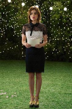 Lucy Hale wearing Sandro Rozen Dress and Saint Laurent Double-Knot Leather Platform Sandals