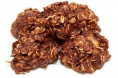 Skinny no bake cookies. Oats, banana, pb, cocoa, applesauce, and vanilla. No sugar. 47 cal each. A healthy chocolate no bake, yes please!.