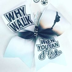 Why Walk When You Can Fly - Ice Blue Sublimated Cheer Bow - Bows by April - Photo One Song Workouts, Cheer Workouts, Morning Workouts, Workout Songs, Bow Quotes, Cheer Quotes, Cute Cheer Bows, Cheer Hair Bows, Cheerleading Quotes