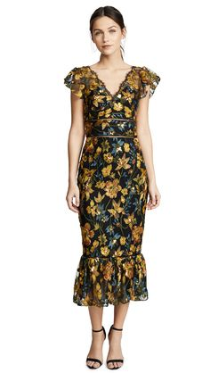 MARCHESA NOTTE EMBROIDERED COCKTAIL DRESS WITH FLUTTER SLEEVES. #marchesanotte #cloth #